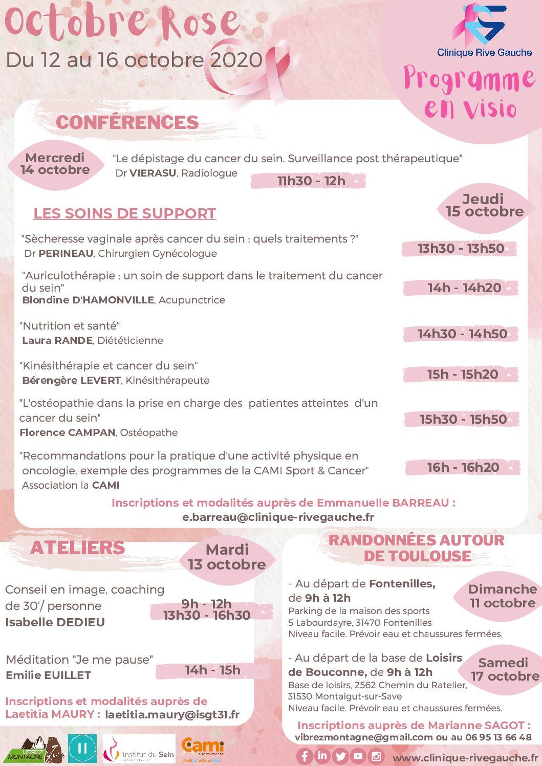 Programme Octobre Rose 2020 – Clinique Rive Gauche